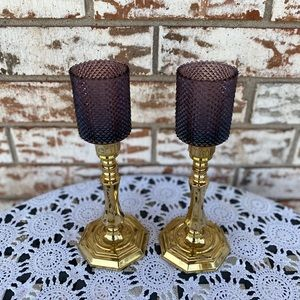 Vintage brass candlesticks w/ smoky purple votives